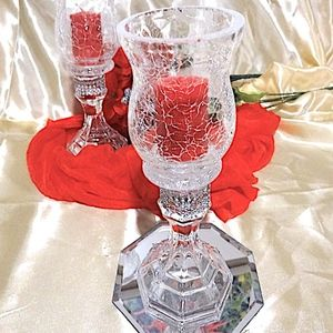 1 PAIR  Handmade Glass Candle Holders
